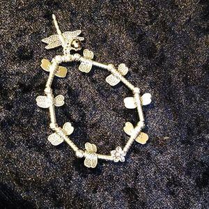 Jewelry - Bracelet Silver Dragonfly Flower Stretch